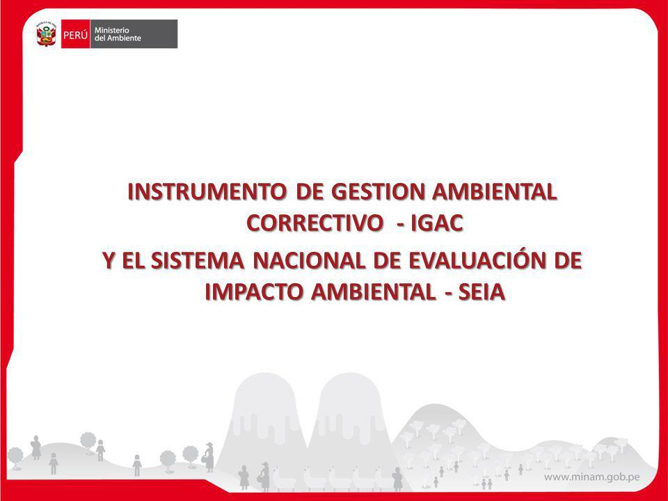 INSTRUMENTO DE GESTION AMBIENTAL CORRECTIVO - IGAC Y EL SISTEMA NACIONAL DE EVALUACIÓN DE IMPACTO AMBIENTAL - SEIA