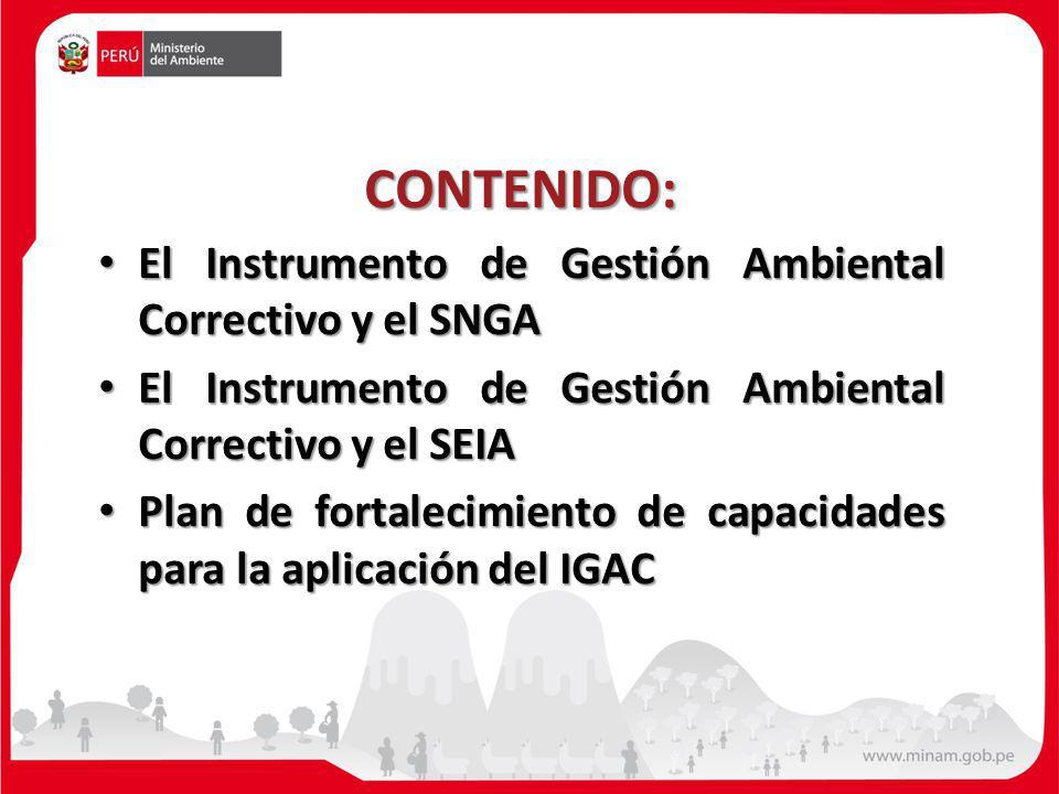 CONTENIDO: El Instrumento de Gestión Ambiental Correctivo y el SNGA