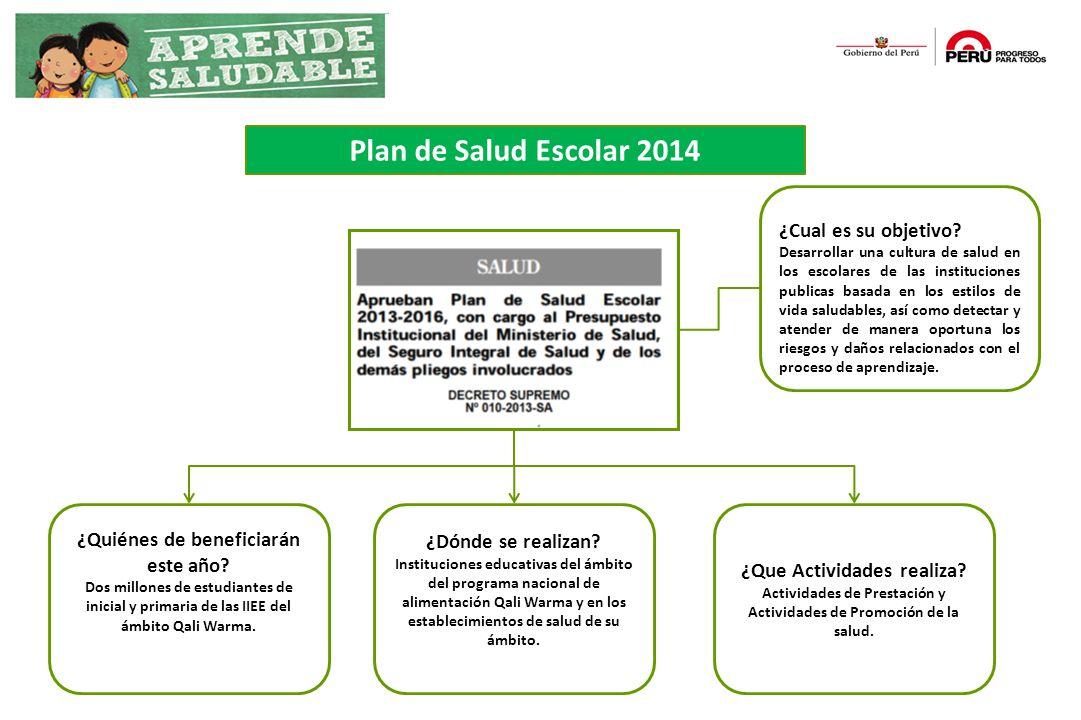 Plan de Salud Escolar 2014 ¿Cual es su objetivo