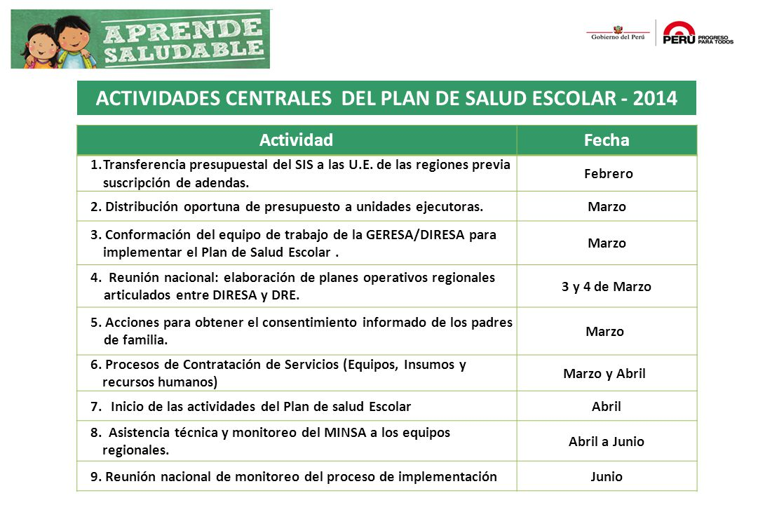 ACTIVIDADES CENTRALES DEL PLAN DE SALUD ESCOLAR - 2014