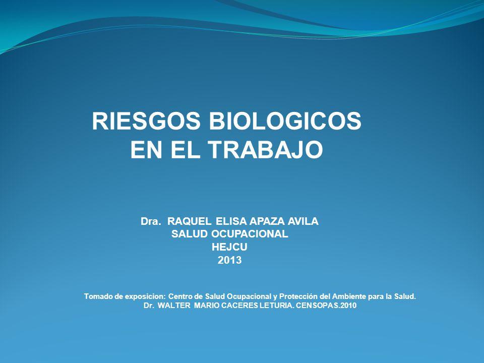 RIESGOS BIOLOGICOS EN EL TRABAJO Dra. RAQUEL ELISA APAZA AVILA