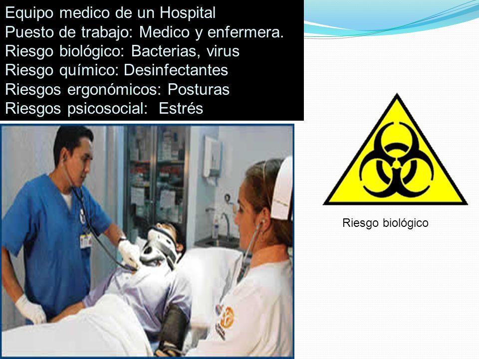 Equipo medico de un Hospital Puesto de trabajo: Medico y enfermera.