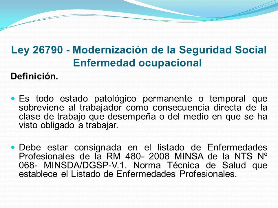 Ley 26790 - Modernización de la Seguridad Social Enfermedad ocupacional