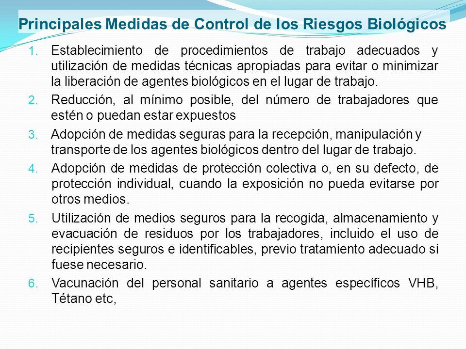 Principales Medidas de Control de los Riesgos Biológicos