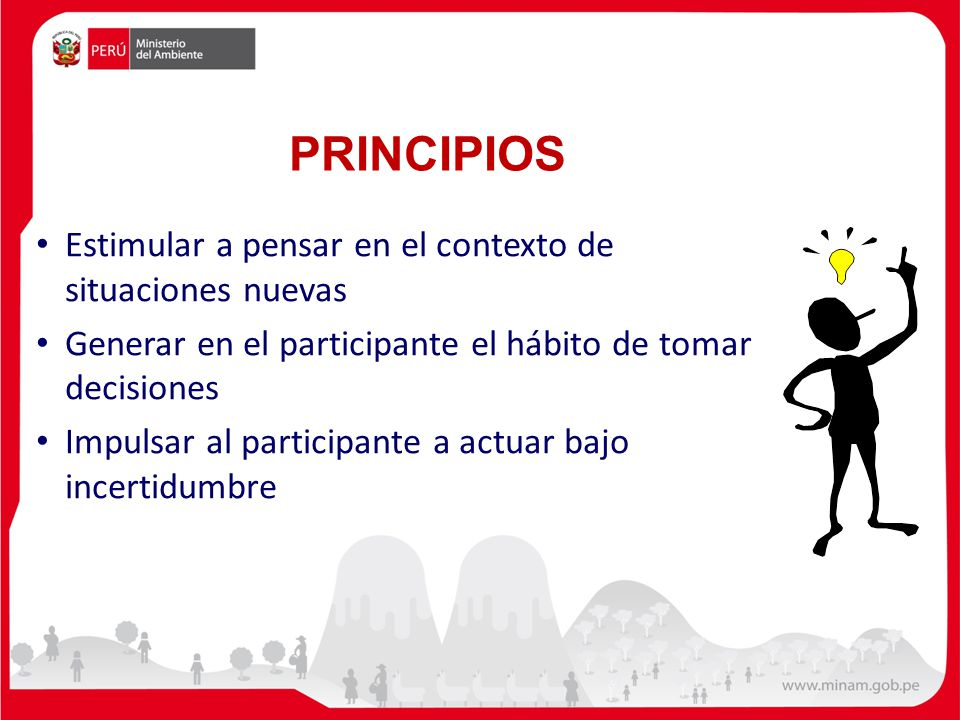 PRINCIPIOS Estimular a pensar en el contexto de situaciones nuevas