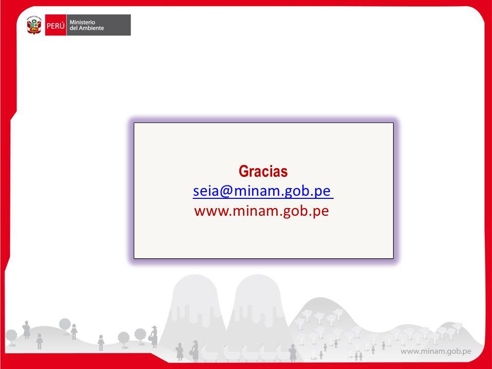 Gracias seia@minam.gob.pe www.minam.gob.pe