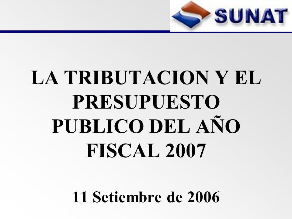 LA TRIBUTACION Y EL PRESUPUESTO PUBLICO DEL AÑO FISCAL 2007 11 Setiembre de 2006