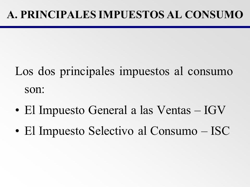 A. PRINCIPALES IMPUESTOS AL CONSUMO