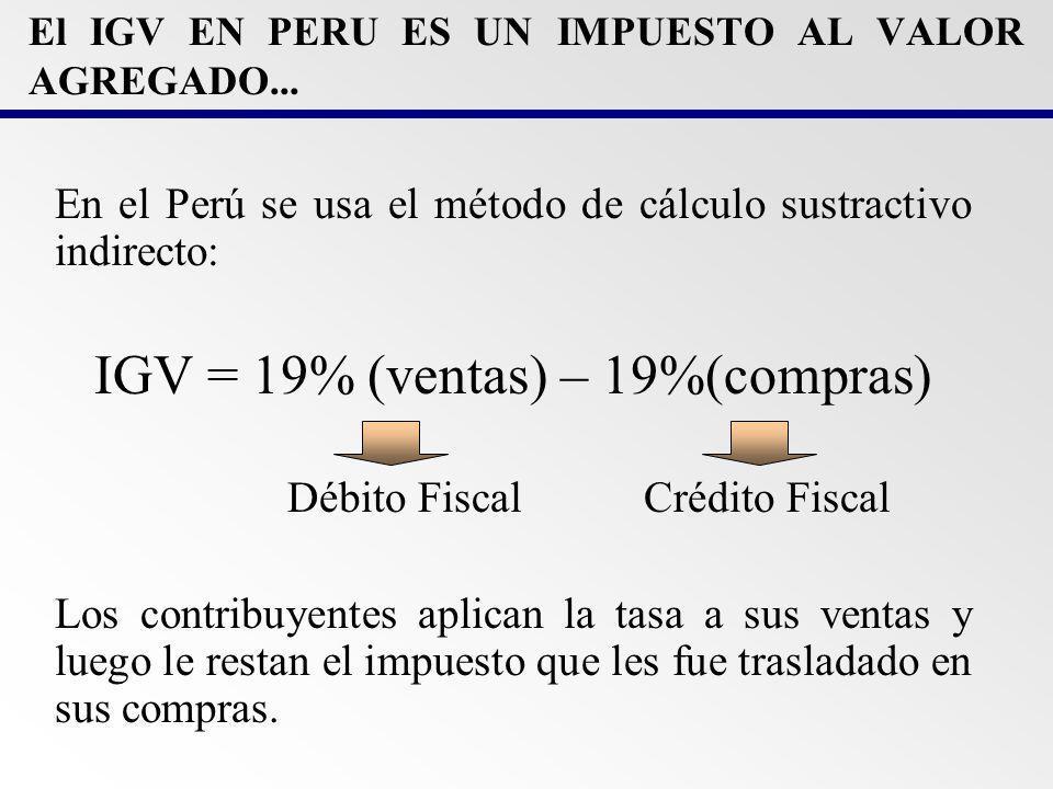 El IGV EN PERU ES UN IMPUESTO AL VALOR AGREGADO...