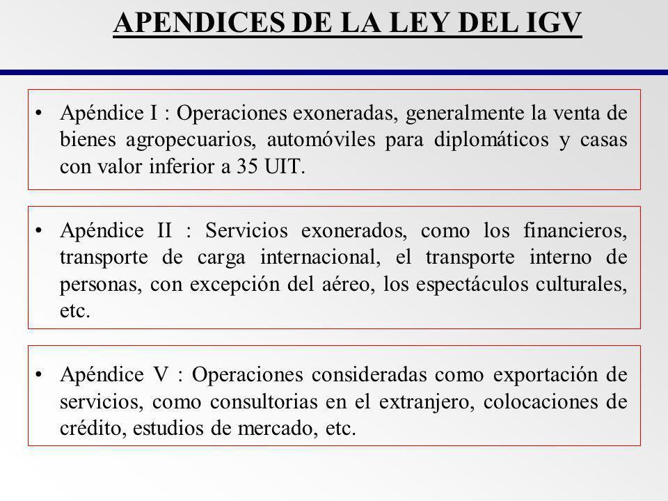APENDICES DE LA LEY DEL IGV