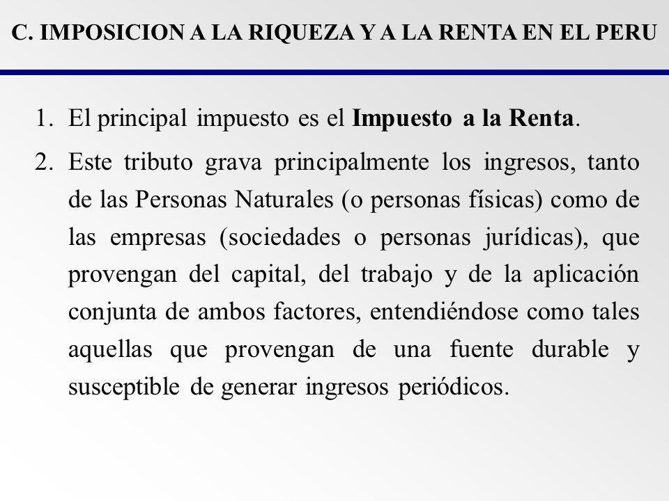 C. IMPOSICION A LA RIQUEZA Y A LA RENTA EN EL PERU