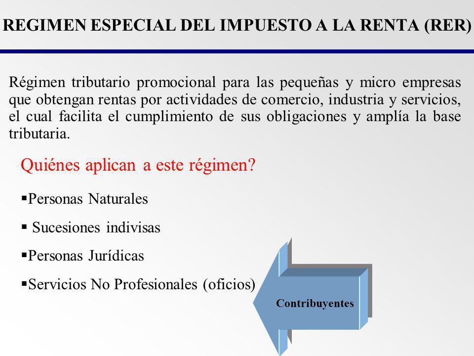 REGIMEN ESPECIAL DEL IMPUESTO A LA RENTA (RER)