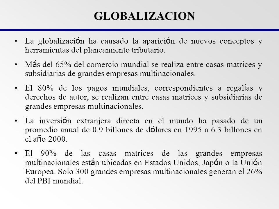 GLOBALIZACION La globalización ha causado la aparición de nuevos conceptos y herramientas del planeamiento tributario.