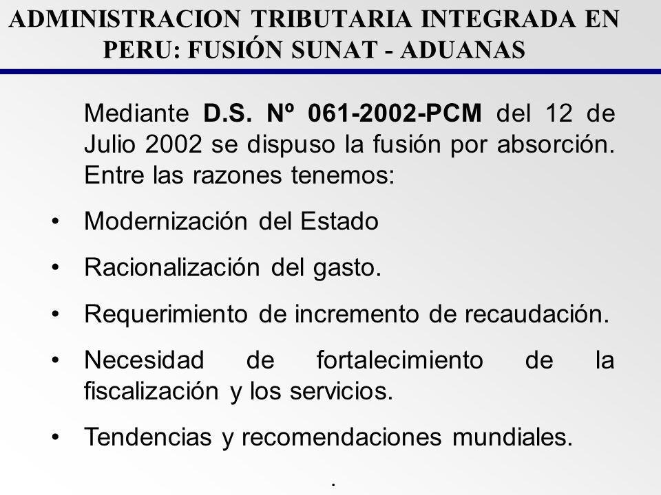 ADMINISTRACION TRIBUTARIA INTEGRADA EN PERU: FUSIÓN SUNAT - ADUANAS