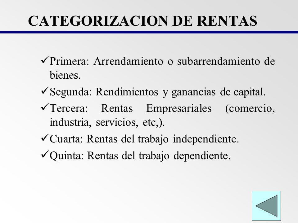 CATEGORIZACION DE RENTAS