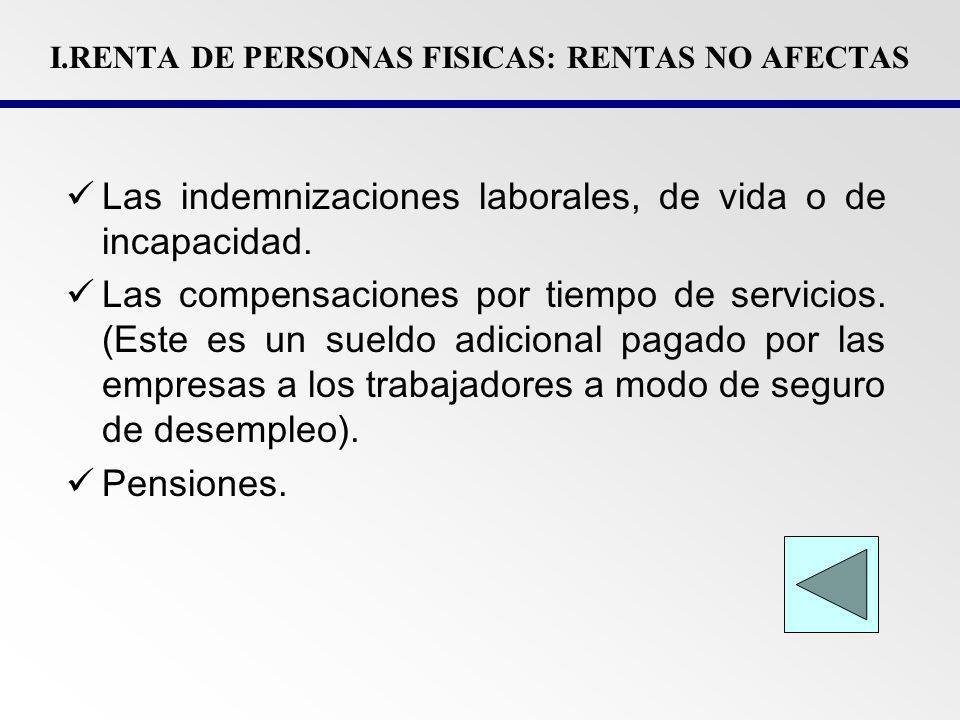 I.RENTA DE PERSONAS FISICAS: RENTAS NO AFECTAS