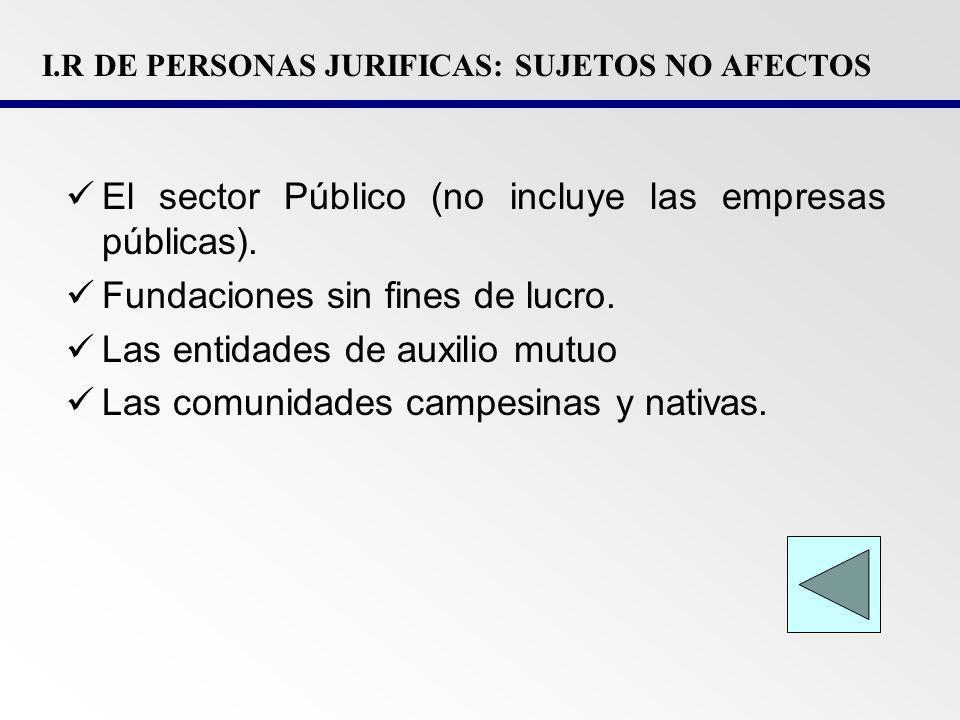 I.R DE PERSONAS JURIFICAS: SUJETOS NO AFECTOS