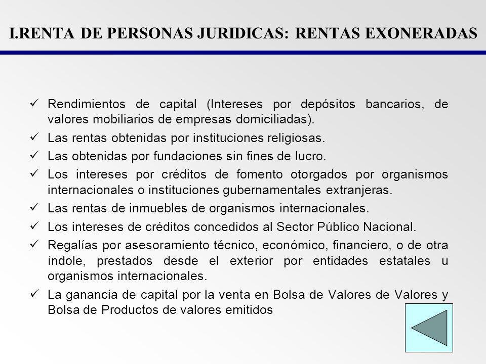 I.RENTA DE PERSONAS JURIDICAS: RENTAS EXONERADAS