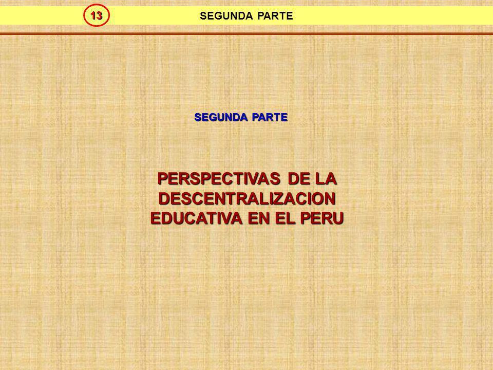 PERSPECTIVAS DE LA DESCENTRALIZACION EDUCATIVA EN EL PERU