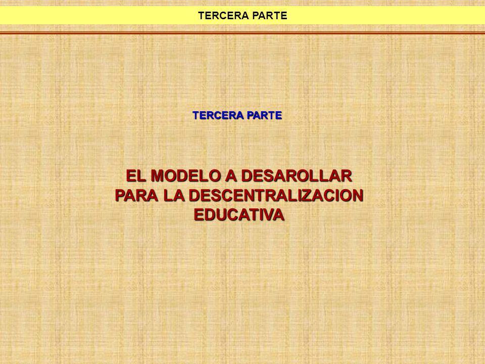 EL MODELO A DESAROLLAR PARA LA DESCENTRALIZACION EDUCATIVA