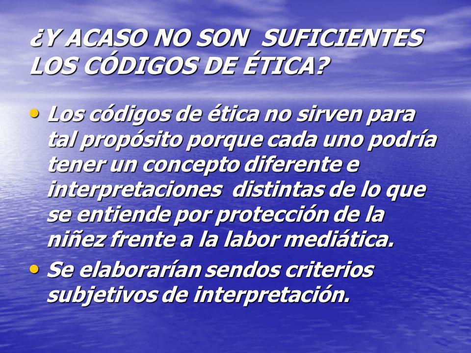 ¿Y ACASO NO SON SUFICIENTES LOS CÓDIGOS DE ÉTICA