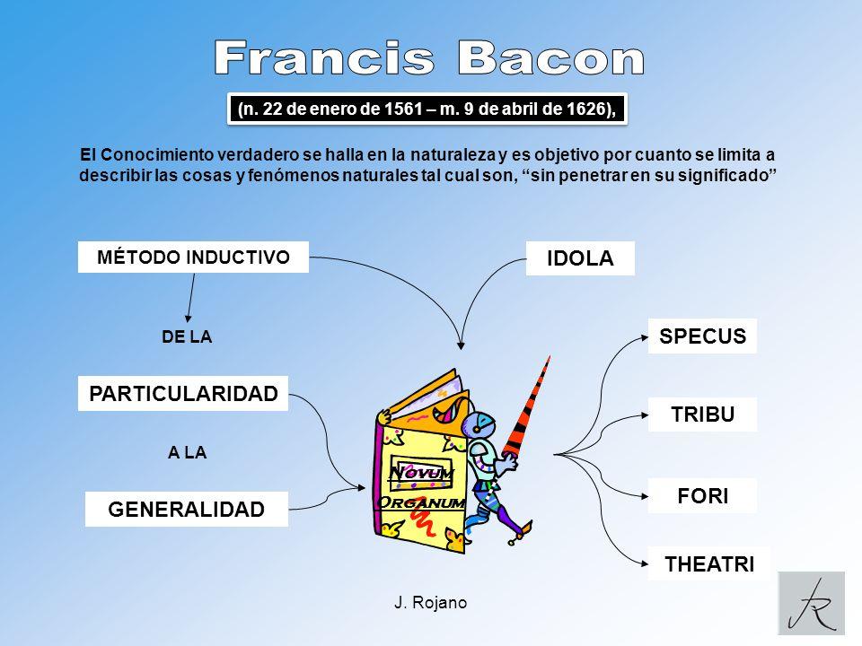 Francis Bacon IDOLA SPECUS PARTICULARIDAD TRIBU FORI GENERALIDAD