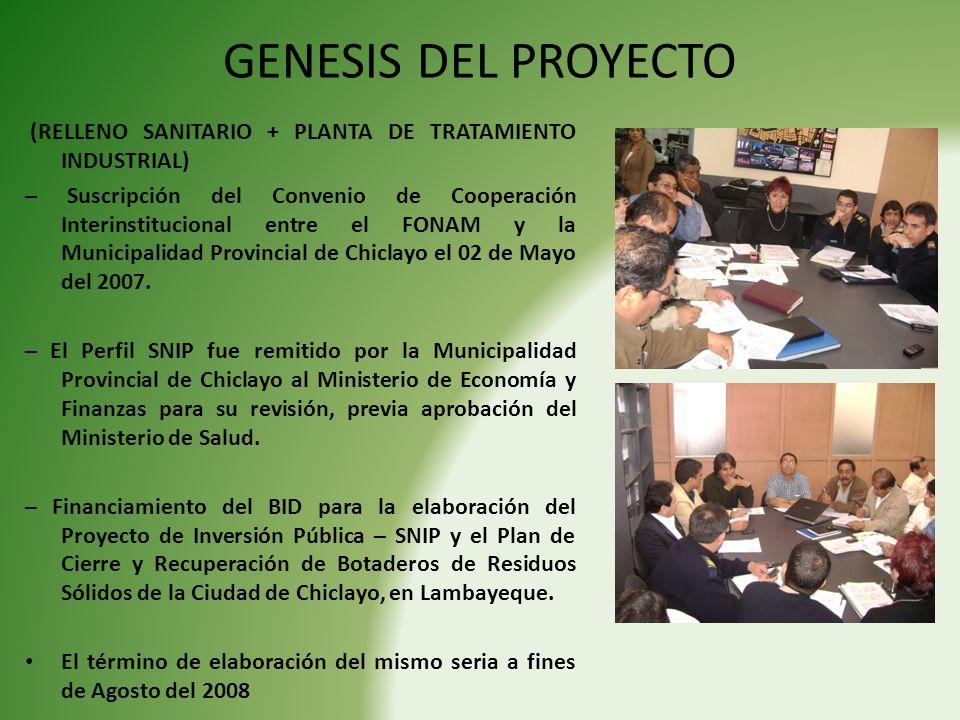 GENESIS DEL PROYECTO (RELLENO SANITARIO + PLANTA DE TRATAMIENTO INDUSTRIAL)
