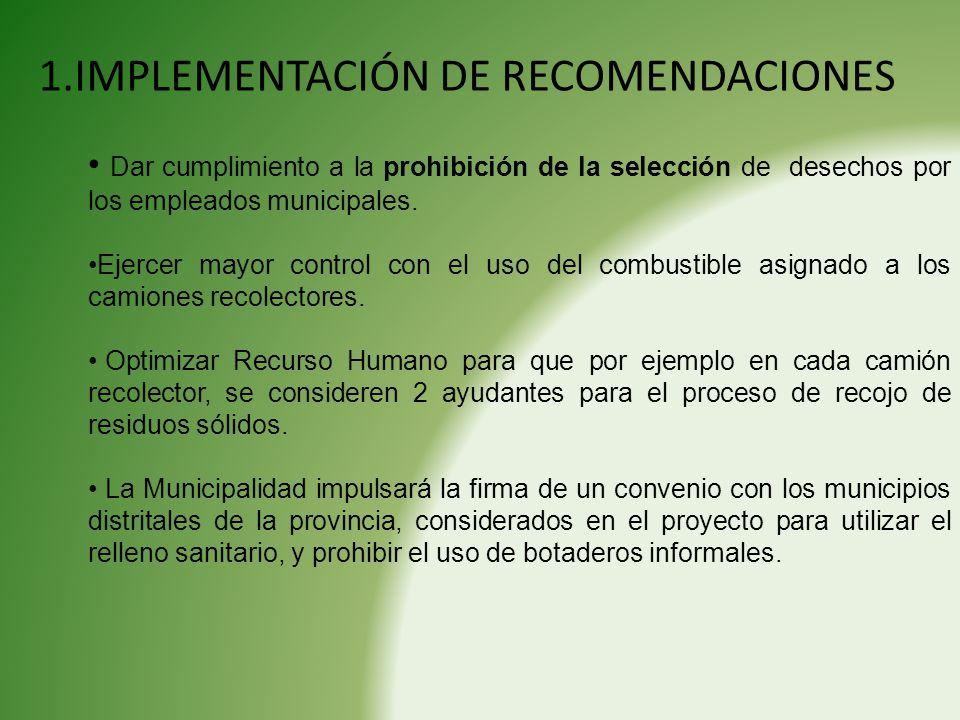 1.IMPLEMENTACIÓN DE RECOMENDACIONES