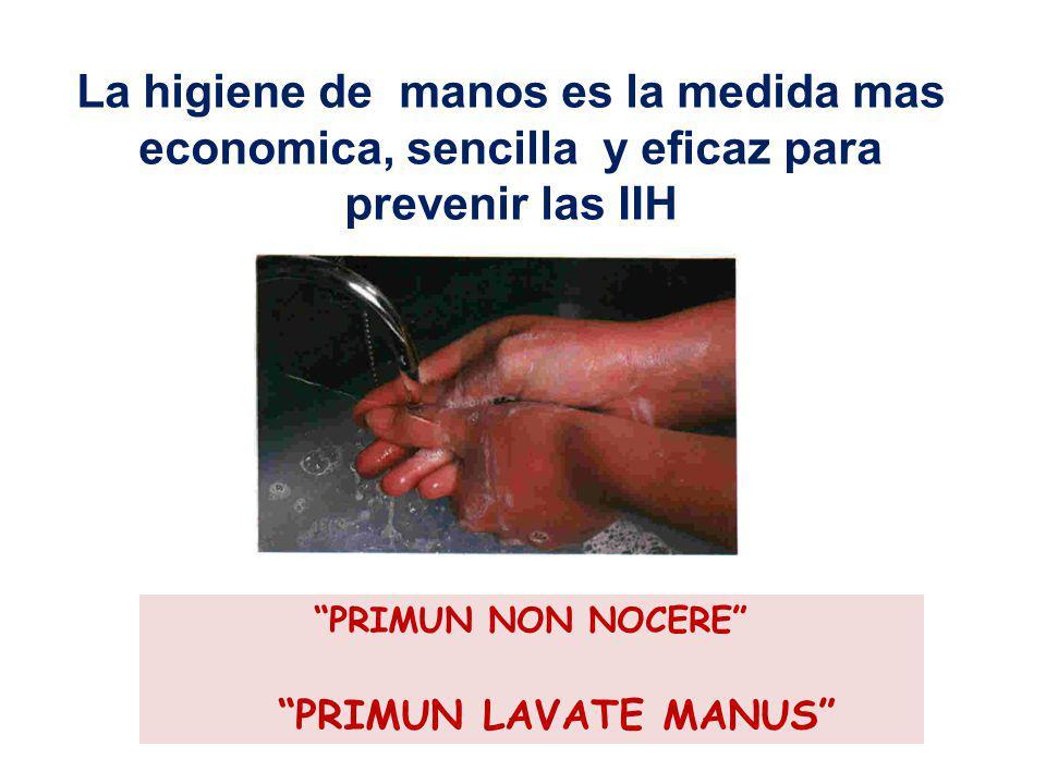 La higiene de manos es la medida mas economica, sencilla y eficaz para prevenir las IIH
