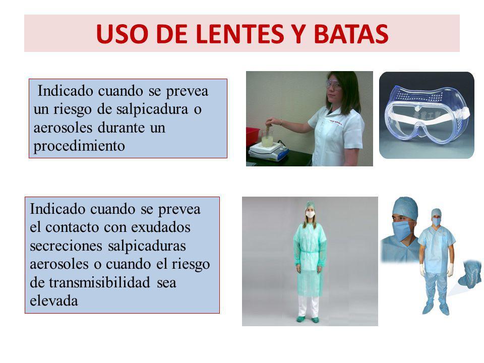 USO DE LENTES Y BATAS Indicado cuando se prevea un riesgo de salpicadura o aerosoles durante un procedimiento.
