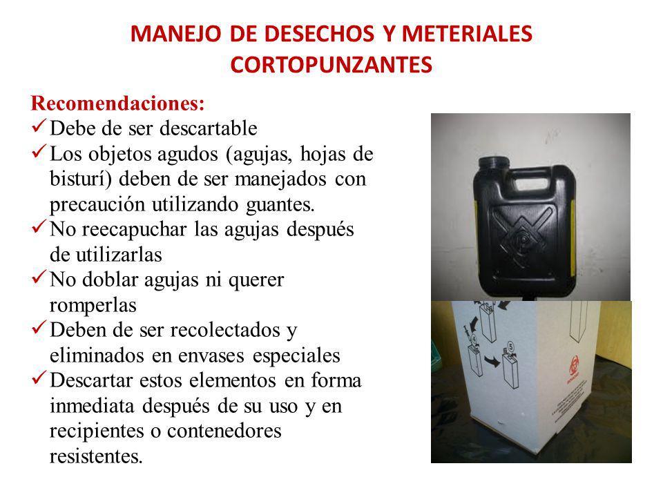 MANEJO DE DESECHOS Y METERIALES CORTOPUNZANTES