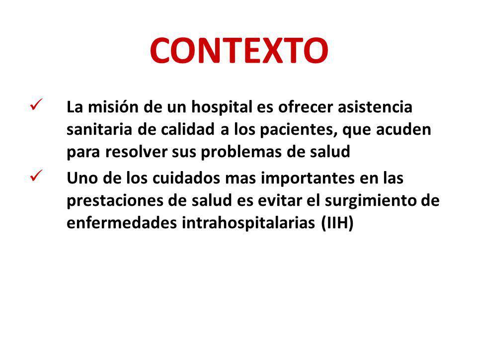 CONTEXTO La misión de un hospital es ofrecer asistencia sanitaria de calidad a los pacientes, que acuden para resolver sus problemas de salud.