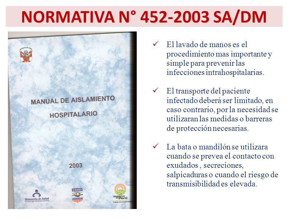 NORMATIVA N° 452-2003 SA/DM El lavado de manos es el procedimiento mas importante y simple para prevenir las infecciones intrahospitalarias.