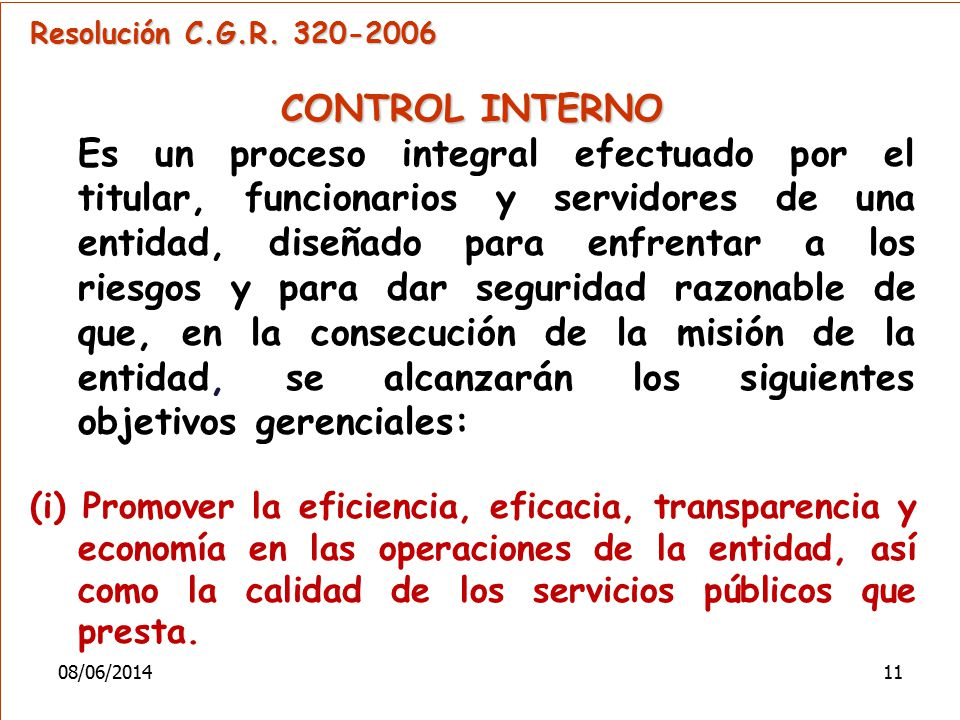 Resolución C.G.R. 320-2006 CONTROL INTERNO.