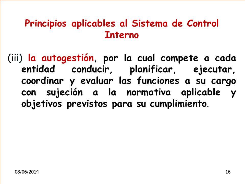 Principios aplicables al Sistema de Control Interno