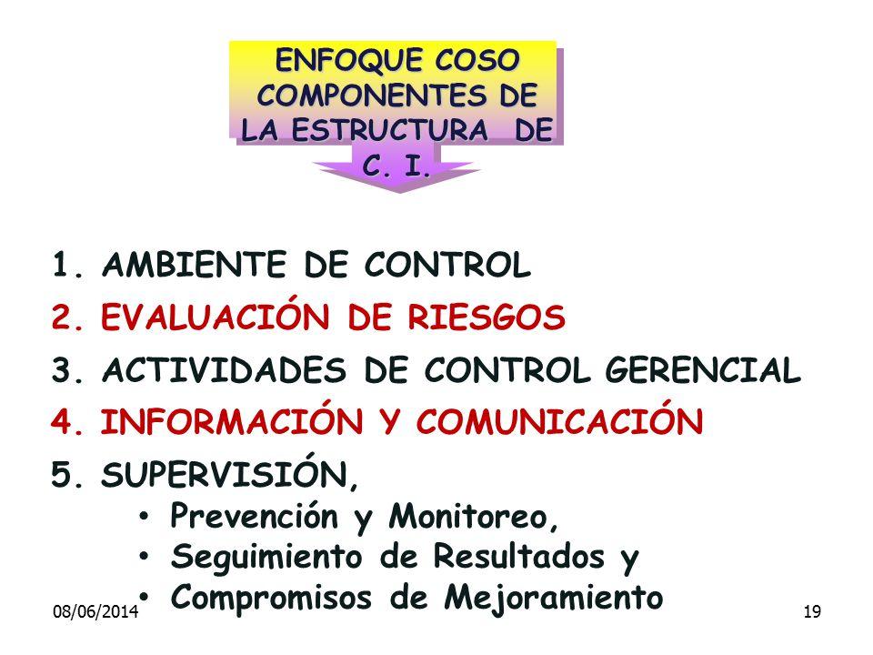 ENFOQUE COSO COMPONENTES DE LA ESTRUCTURA DE C. I.