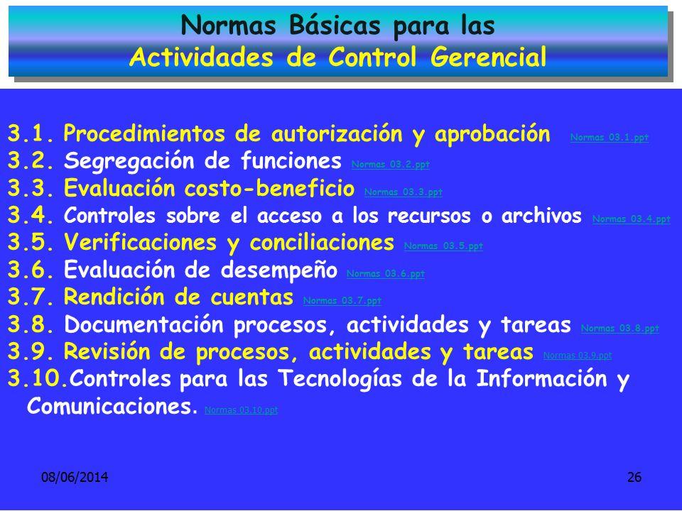 Normas Básicas para las Actividades de Control Gerencial