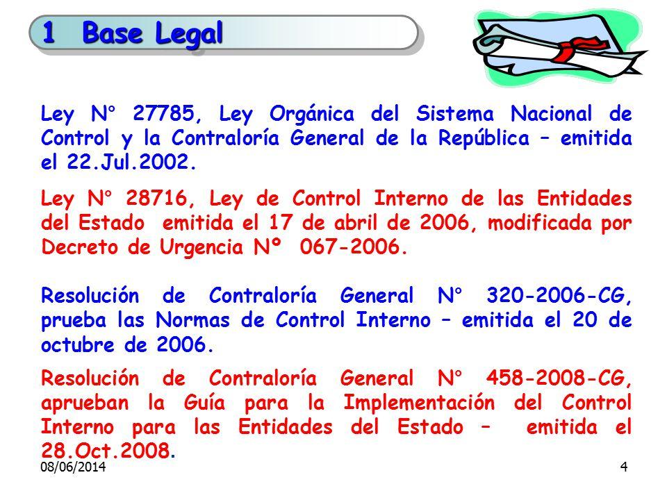 1 Base Legal Ley N° 27785, Ley Orgánica del Sistema Nacional de Control y la Contraloría General de la República – emitida el 22.Jul.2002.