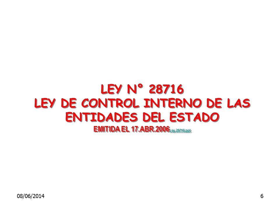 LEY DE CONTROL INTERNO DE LAS ENTIDADES DEL ESTADO