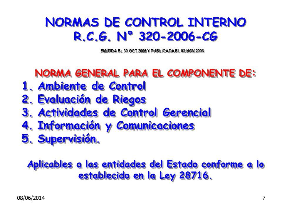 NORMAS DE CONTROL INTERNO NORMA GENERAL PARA EL COMPONENTE DE: