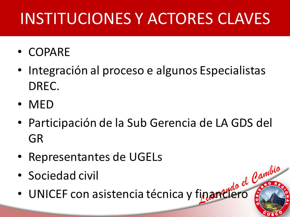 INSTITUCIONES Y ACTORES CLAVES