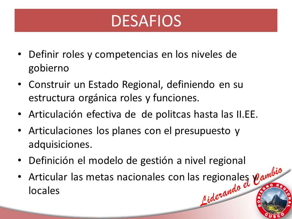 DESAFIOS Definir roles y competencias en los niveles de gobierno