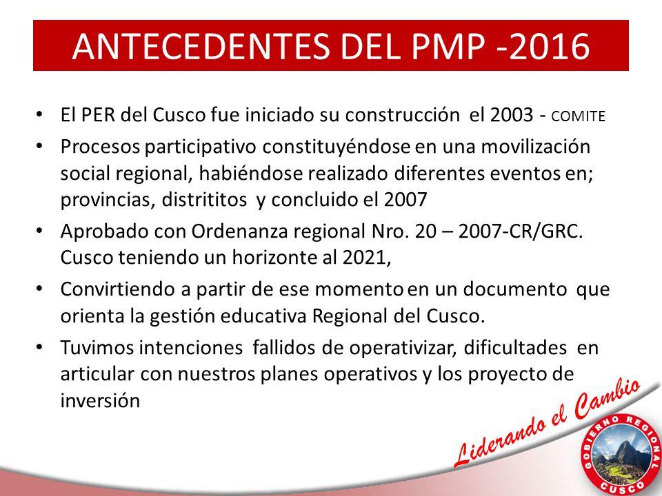 ANTECEDENTES DEL PMP -2016 El PER del Cusco fue iniciado su construcción el 2003 - COMITE.