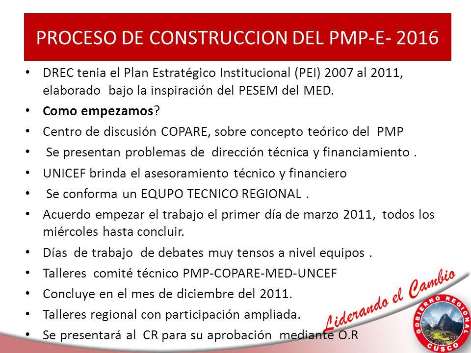 PROCESO DE CONSTRUCCION DEL PMP-E- 2016