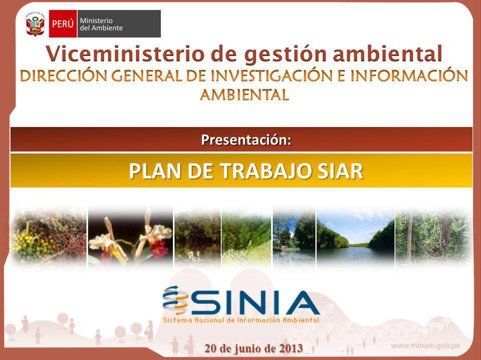 PLAN DE TRABAJO SIAR Viceministerio de gestión ambiental