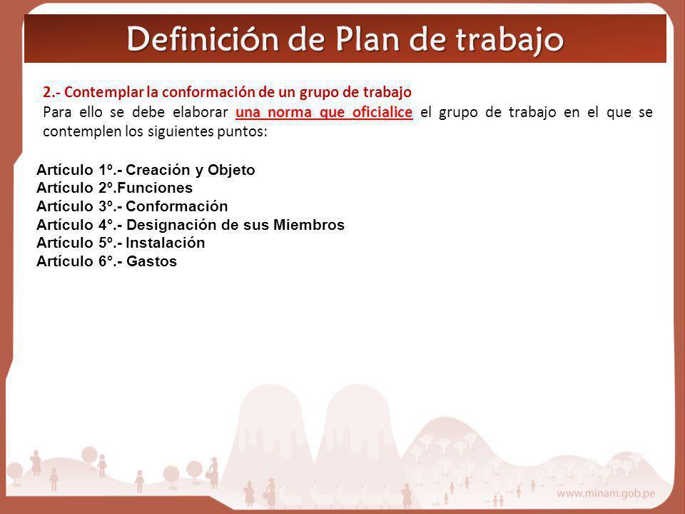 Definición de Plan de trabajo