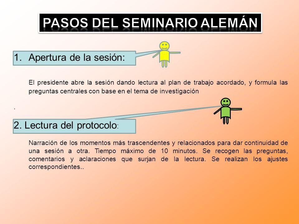 PASOS DEL SEMINARIO ALEMÁN