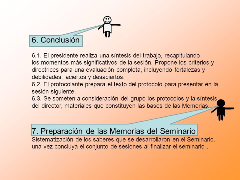 7. Preparación de las Memorias del Seminario