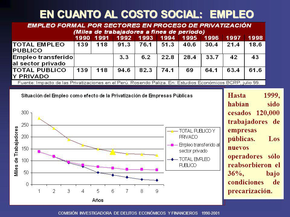 EN CUANTO AL COSTO SOCIAL: EMPLEO
