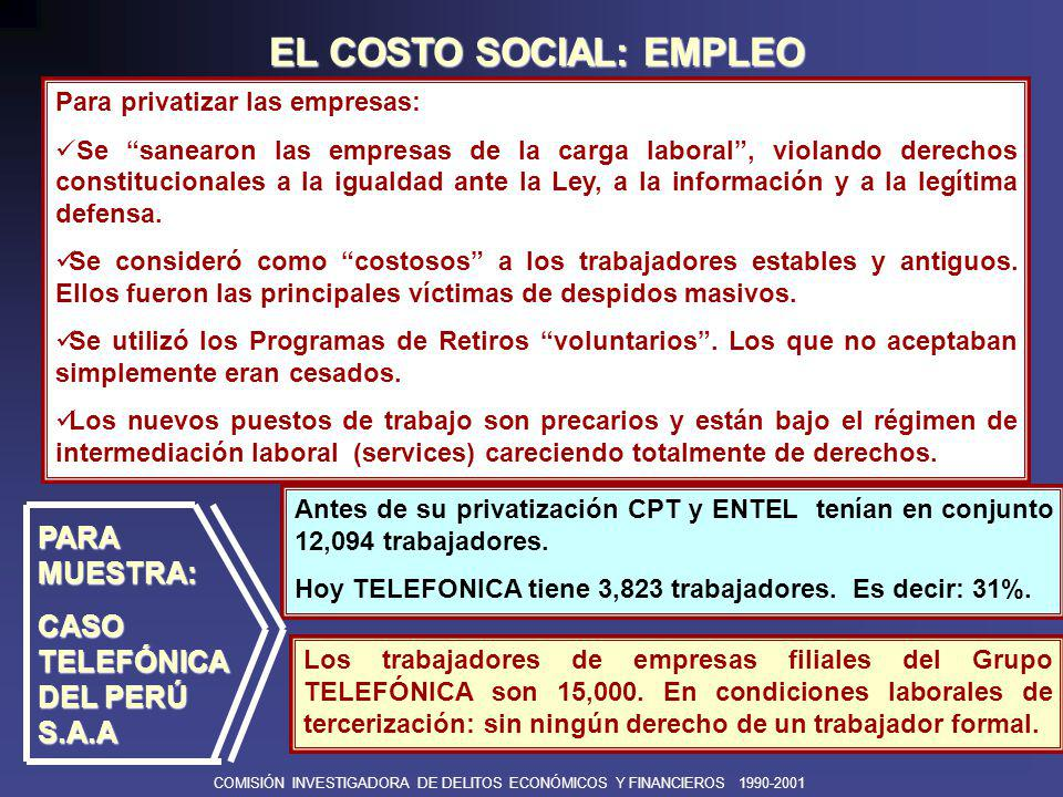 EL COSTO SOCIAL: EMPLEO
